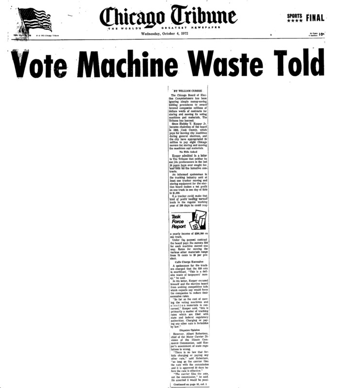 """Chicago Tribune article titled, """"Vote Machine Waste Told."""" Written by William Currie as part of the Task Force Vote Fraud Investigation."""