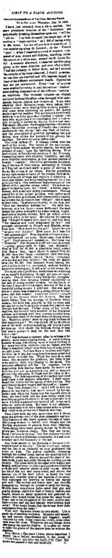 """New York Tribune article titled, """"Visit to a Slave Auction."""" Writer unknown."""