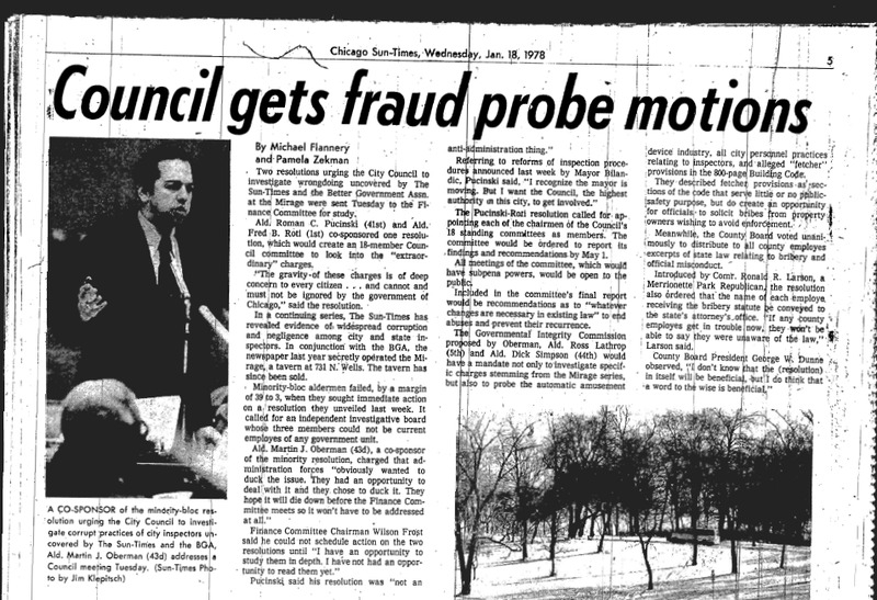 """Chicago Sun-Times article titled """"Council Gets Fraud probe Motions."""" Written by Pamela Zekman and Michael Flannery in 1978 as part of the Mirage Reaction."""