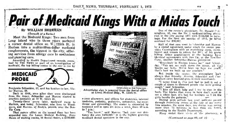 """New York Daily News article titled, """"Pair of Medicaid Kings with a Midas Touch."""" Written by William Sherman as part of a medicaid fraud investigation series."""