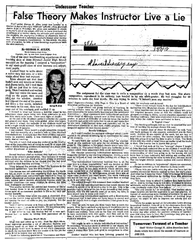 """New York World Telegram and Sun article titled, """"False Theory Makes Instructor Live a Lie."""" Written by George N. Allen as part of his """"Undercover Teacher"""" series."""
