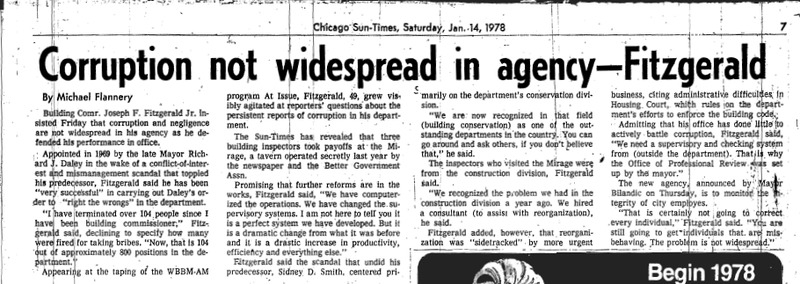 """Article written by Michael Flannery titled """"Corruption not widespread in agency – Fitzgerald."""" Published in the Chicago Sun-Times in 1978 as part of the Mirage reaction,"""