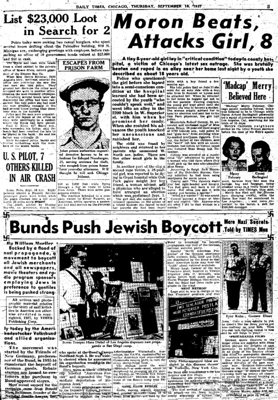 """Chicago Daily Times article titled, """"Bunds Push Jewish Boycott."""" Written by William Mueller, John C. Metcalfe, and James J. Metcalfe as part of a series."""