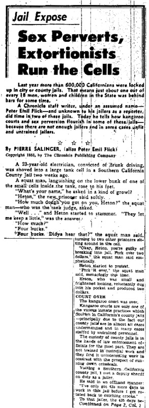 """San Francisco Chronicle article titled, """"Sex Perverts, Extortionists Run the Cells."""" Written by Pierre Salinger."""