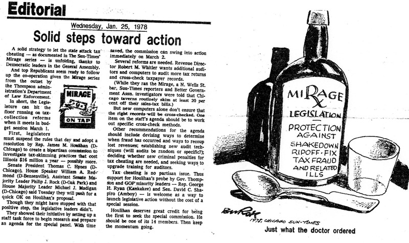 """Article titled """"Solid steps toward action,"""" with a graphic that was part of the Mirage Editorial. Published in the Chicago Sun-Times in 1978."""