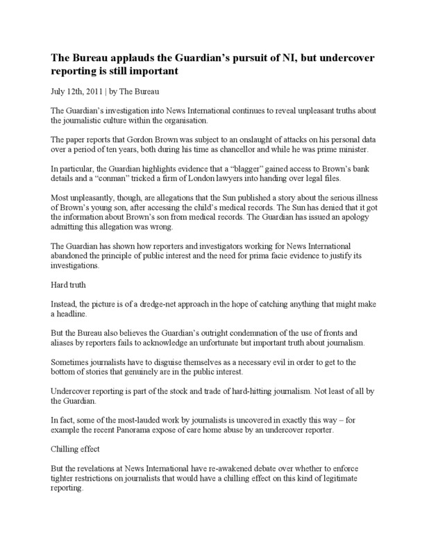 Document titled the Bureau applauds the Guardian's pursuit of NI, but undercover reporting is still important