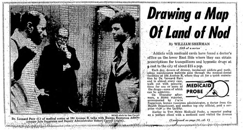"New York Daily News article titled, ""Drawing a Map of Land of Nod."" Written by William Sherman as part of a Medicaid fraud investigation series."