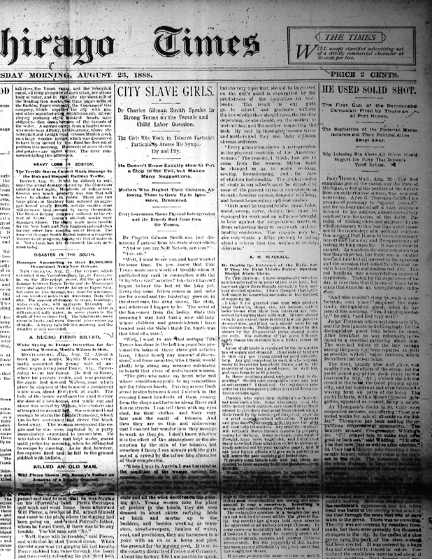 """Chicago Times article titled, """"City Slave Girls: Dr. Charles Gilman Smith Speaks in Strong Terms on the Female and Child Labor Question."""" Written by Charles Gilman Smith and Nell Nelson."""