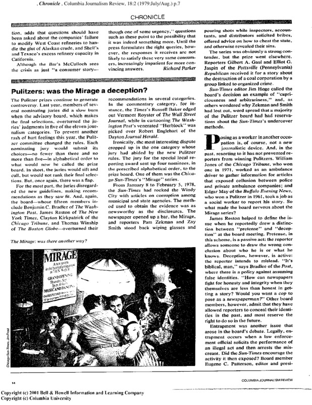 "Article in Columbia's Journalism Review titled, ""Pulitzers: Was Mirage a Deception?"" Written by Steve Robinson in 1979."