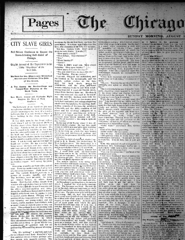 "Chicago Daily Times article Nell Nelson wrote as part of her series, ""City Slave Girls."""