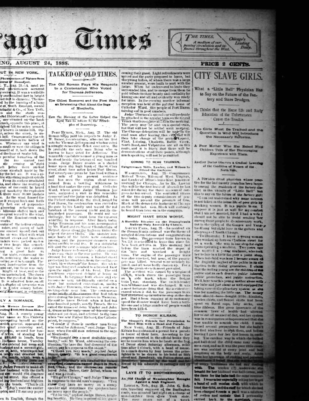 """Chicago Times article titled, """"City Slave Girls: What a """"Little Hell"""" Physician Has to Say on the Future of the Factory and Store Drudges."""" Written by Nell Nelson."""