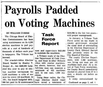 "Chicago Tribune article titled, ""Payrolls Padded on Voting Machines."" Written by William Currie as part of the Task Force Vote Fraud Investigation."