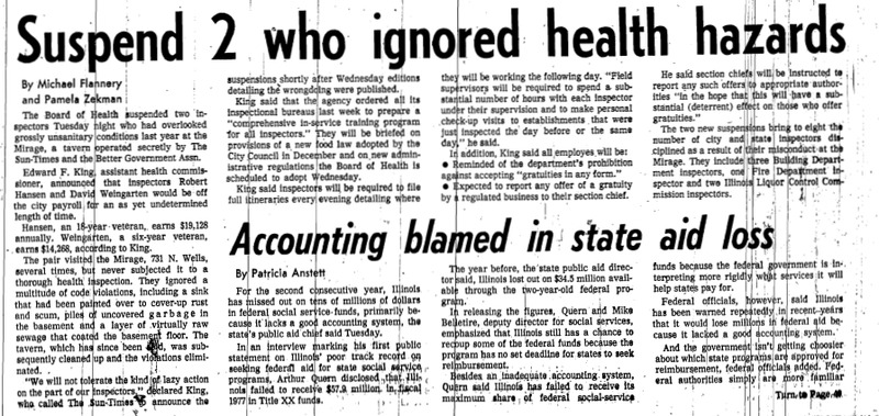 """Chicago Sun-Times article titled """"Suspend 2 Who Ignored Health Hazards."""" Written by Pamela Zekman and Michael Flannery as part of the Mirage Reaction."""