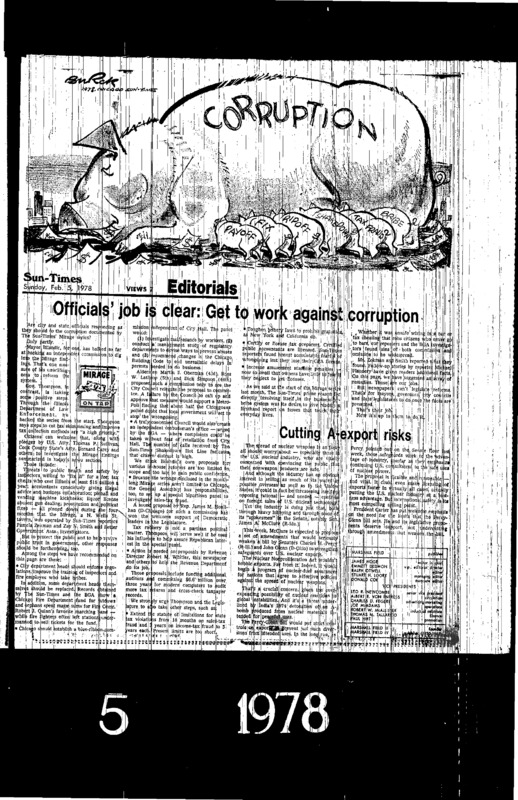 "Chicago Sun-Times article titled, ""Officials' Job is Clear: Get to Work Against Corruption."" Written in 1978 as part of Pamela Zekman and Zay N. Smith's Mirage Editorial."