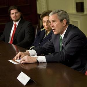 "A photo of President Bush making an announcement. Accompanying Josh White's Washington Post article, ""Dole, Shalala to Lead Troop-Care Panel."""