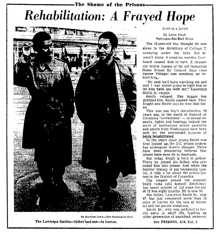 """Washington Post article titled, """"Rehabilitation: A Frayed Hope."""" Written by Leon Dash as part of the Shame of the Prison series."""