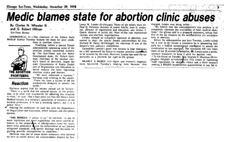 """Chicago Sun-Times article titled, """"Medic Blames State for Abortion Clinic Abuses."""" Written by Charles N. Wheeler and G. Robert Hillman as part of the reaction to the paper's """"Abortion Profiteers"""" series."""