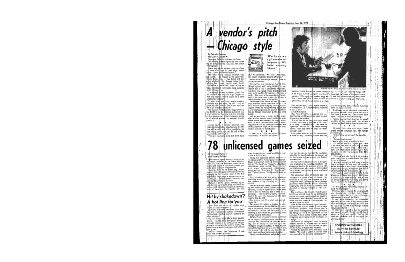 "Pamela Zekman and Zay N. Smith's article ""A Vendor's Pitch – Chicago Style,"" written for the Chicago Sun-Times in 1978."