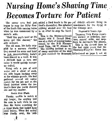 """Chicago Tribune article titled, """"Nursing Home's Shaving Time Becomes Torture for Patient."""" Written as part of the nursing home exposé."""