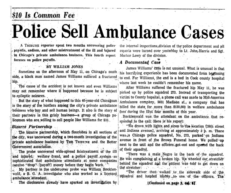 """Chicago Tribune article titled, """"Ambulance Quiz Ordered."""" Written by William Jones as part of the reaction to the Private Ambulance Investigation."""