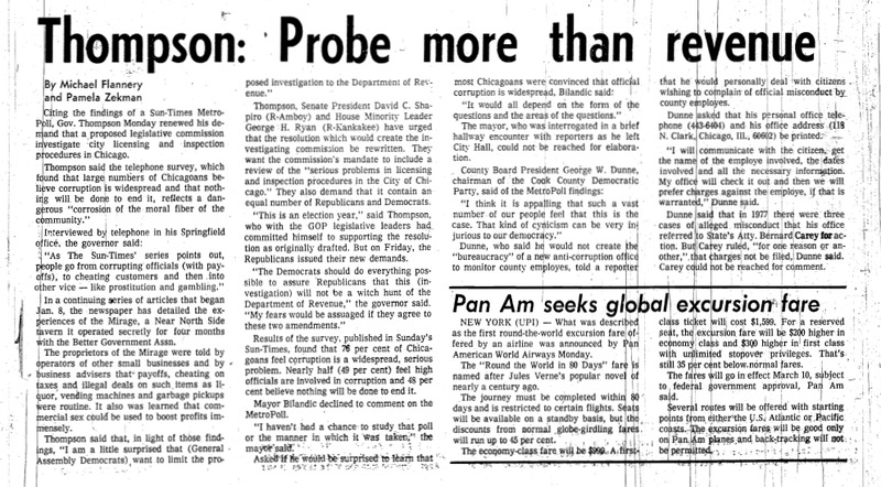 """Chicago Sun-Times article titled, """"Thompson: Probe More Than Revenue."""" Written by Pamela Zekman and Michael Flannery as part of the Mirage Reaction."""