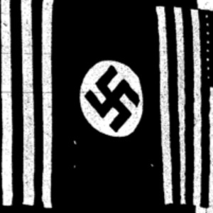 "Picture of a Swastika accompanying an article titled, ""Nazi in U.S. Blast Church."""