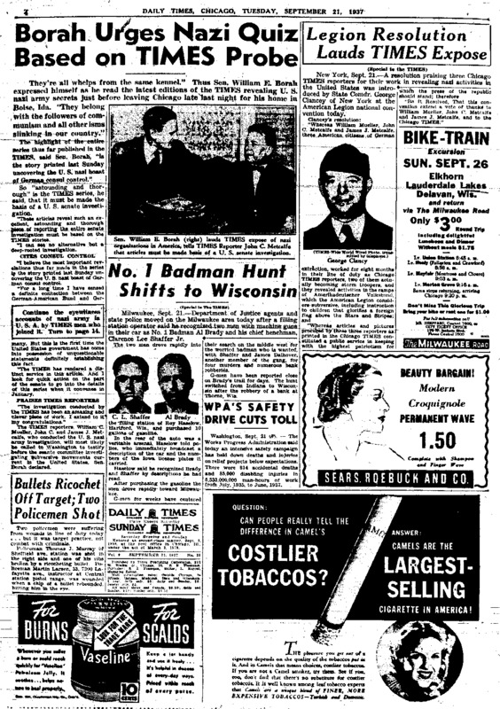 "Chicago Daily Times article titled, ""German Citizens Join U.S. Bund, Ex G-Man Learns."" Written by James J. Metcalfe and John C. Metcalfe as part of their series on American Nazis."