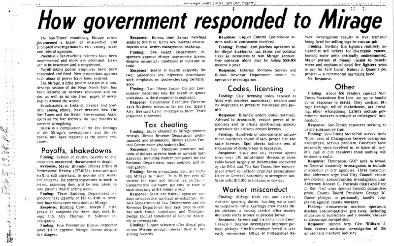 """Article written by Pamela Zekman and Zay N. Smith titled """"How Government Responded to Mirage.""""  Published in the Chicago Sun-Times."""