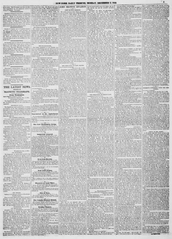 """New York Tribune article titled, """"John Brown's Invasion."""" Written by Henry S. Olcott."""
