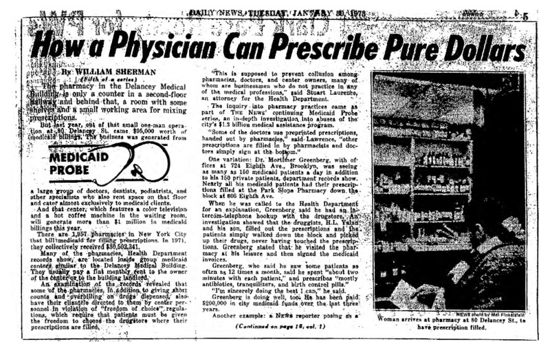 """New York Daily News article titled, """"How a Physician Can Prescribe Pure Dollars."""" Written by William Sherman as part of a medicaid fraud investigation series."""