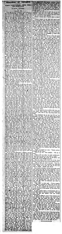 """New York Tribune article titled, """"The Case of Rose Haggerty."""" Written by Helen Campbell as part of her series, """"Prisoners of Poverty: Women wage-workers, their trades and their lives."""""""