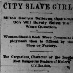Heading of the Chicago Times commentary on the City Slave Girls series by Milton George and Nell Nelson.