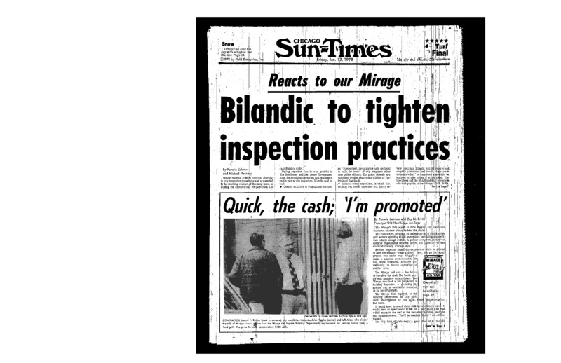 """Chicago Sun-Times article titled, """"Bilandic to Tighten Inspection Practices."""" Written by Pamela Zekman and Michael Flannery as part of the Mirage Reaction."""