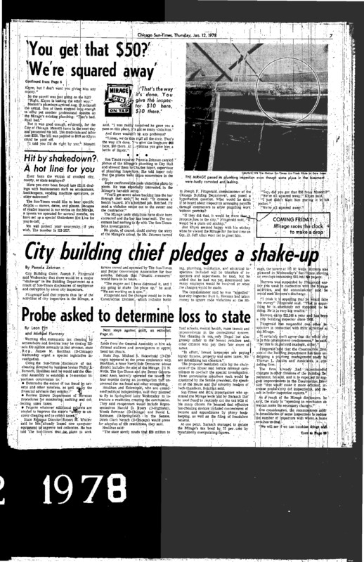 "Chicago Sun-Times article titled, ""City Building Chief Pledges a Shake-Up."" Written by Pamela Zekman as part of the Mirage Reaction."