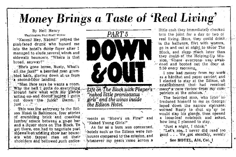 "Washington Post article titled, ""Money Brings a Taste of 'Real Living."" Written by Neil Henry in 1980."