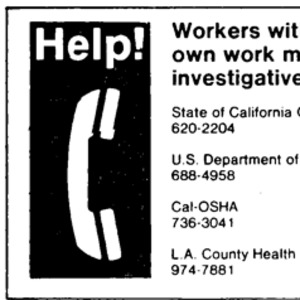 Telephone numbers of investigative agencies for workers questioning their own work.