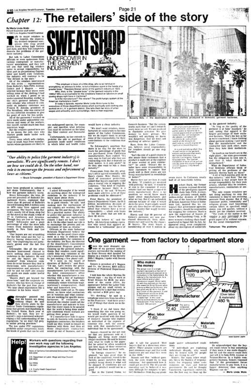 """Los Angeles Herald-Examiner article titled, """"The Retailer's Side of the Story."""" Written by Merle Linda Wolin as part of her series."""