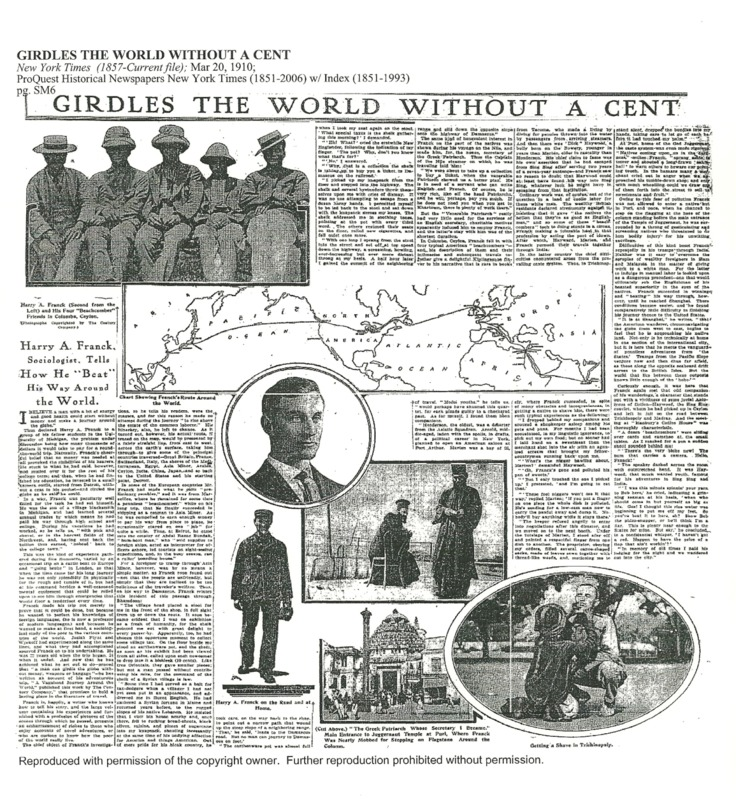 article titled Girdles the world without a cent