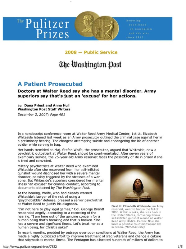 """Dana Priest and Anne Hull's Washington Post article titled, """"Walter Reed: """"A Patient Prosecuted."""""""