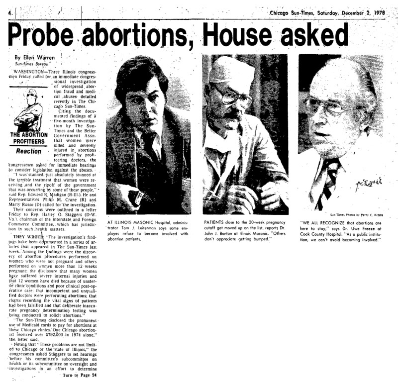 """A reaction piece in the Chicago Sun-Times titled, """"Probe Abortions, House Asked."""" Written by Ellen Warren."""