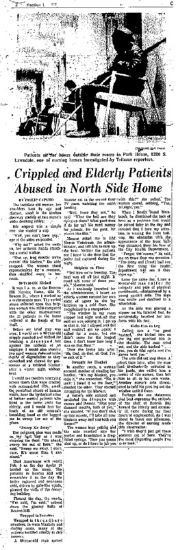 "Chicago Tribune article titled, ""Crippled and Elderly Patients Abused in North Side Home."" Written by Philip Caputo as part of the nursing home exposé."