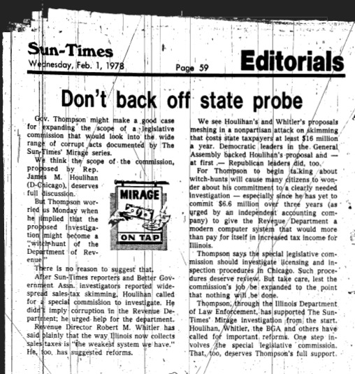 """Chicago Sun Times article titled """"Don't Back Off State Probe."""" Written as part of the larger Mirage Editorial."""