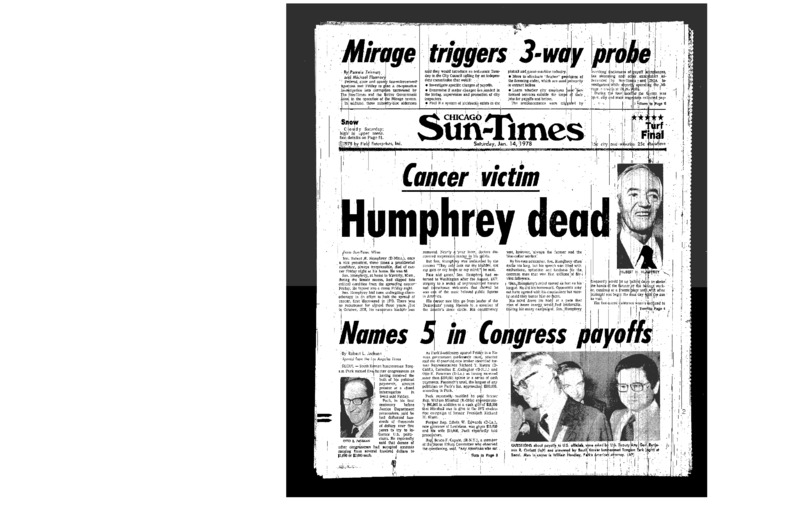 "Chicago Sun-Times article titled, ""Mirage Triggers 3-Way Probe."" Written in 1978 by Pamela Zekman and Michael Flannery."