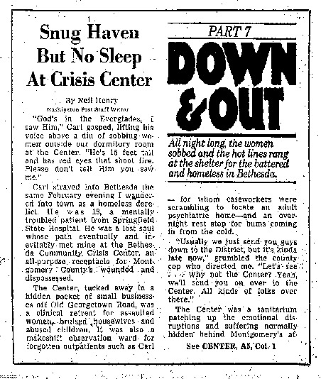 """Washington Post article titled, """"Snug Haven But No Sleep at Crisis Center."""" Written by Neil Henry in 1980."""