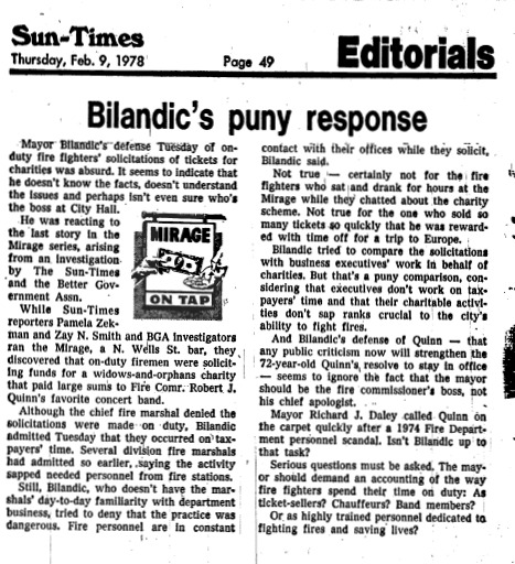 """Article published in the Chicago Sun-Times titled """"Bilandic's puny response."""" Part of Pamela Zekman and Zay N. Smith's Mirage Editorial."""