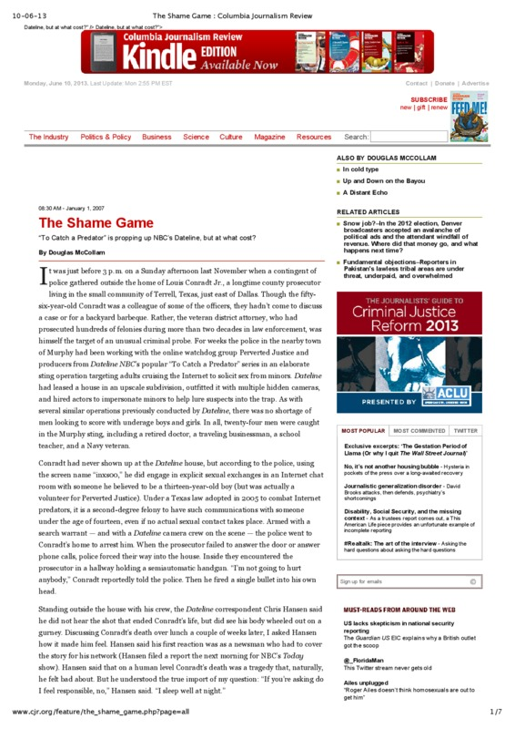 """Columbia Journalism Review article titled, """"The Shame Game."""" Written by Douglas McCollam."""