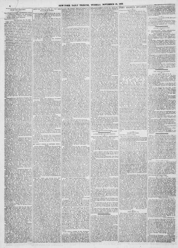 "New York Tribune article titled, ""John Brown's Invasion."""
