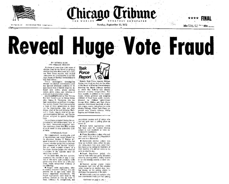 "Chicago Tribune article titled, ""Reveal Huge Vote Fraud."" Written by George Bliss as part of the Vote Fraud Investigation series."