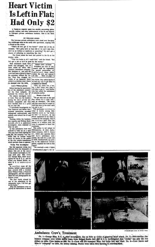 """Chicago Tribune article titled, """"Heart Victim is left in Flat; Had only $2."""" Written by William Jones as part of the Private Ambulance Investigation."""