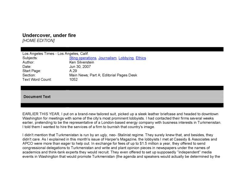 "Los Angeles Times article titled, ""Undercover, Under Fire."" Written by Ken Silverstein."